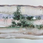 Little Landscape 5 Abstract watercolor painting on paper Abstract painting in pinks and nudes