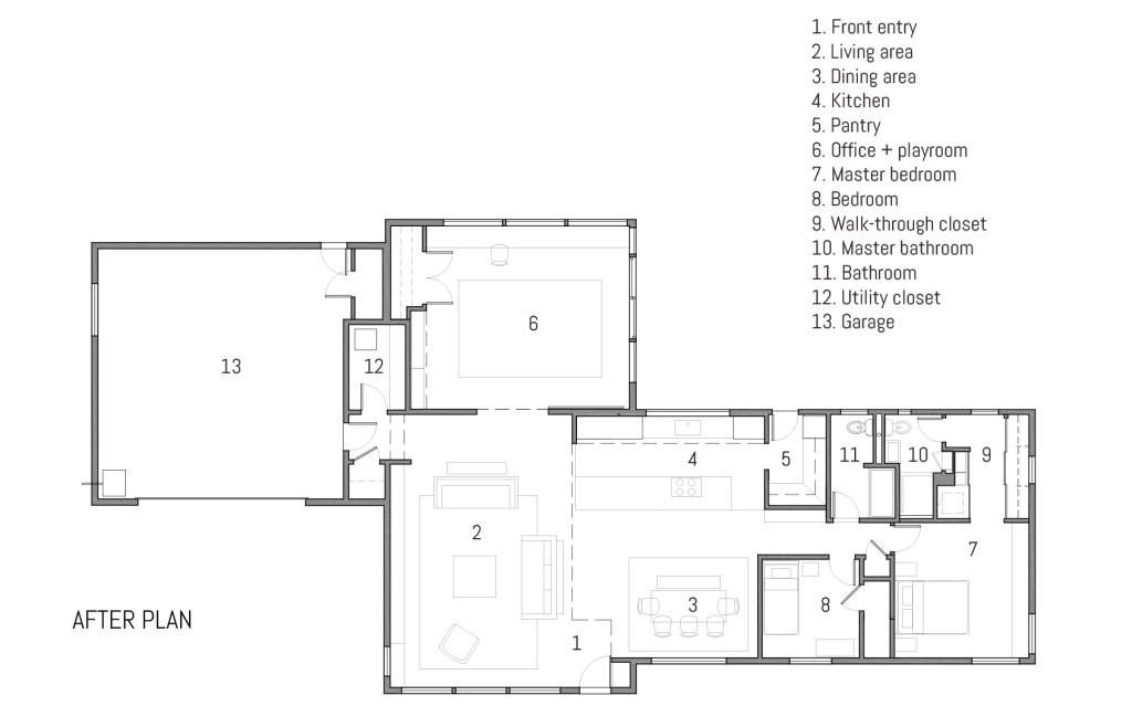 Mid-Century Modern Renovation after plan