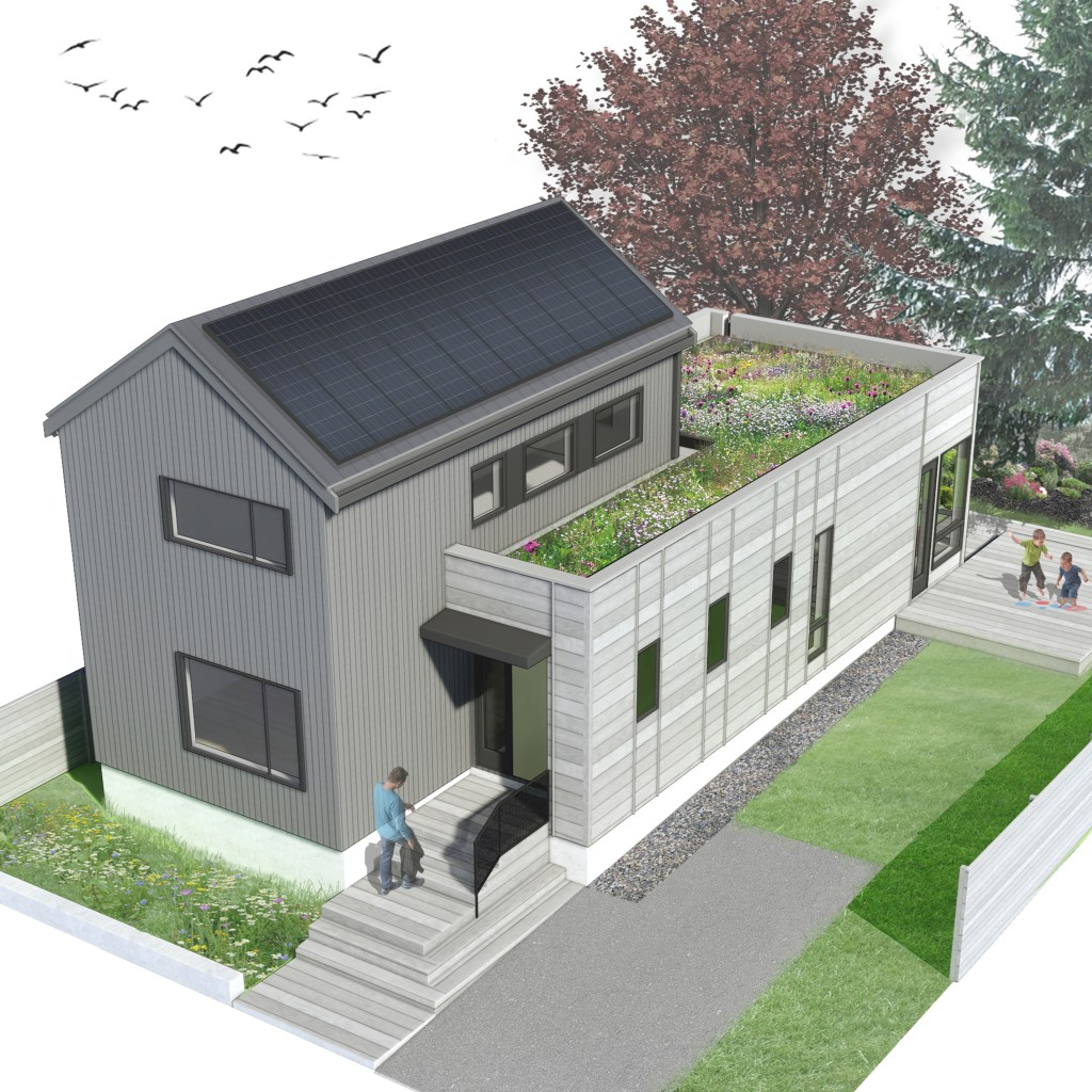 Compact Modern House Exterior Rendering