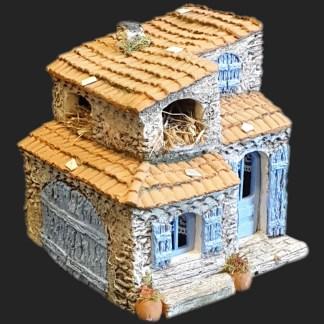 Maison de village 9 bleu – Atelier de Fanny – Santon – Santons – Décors de crèche – Aubagne – Provence – Crèche de Provence – Santon de provence.jpg