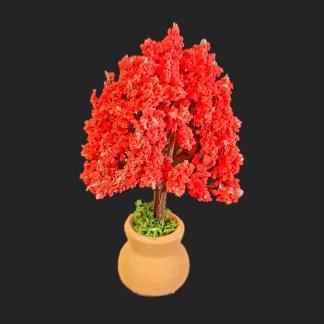 JARRE arbre fleuri rouge 'CM-  Aubagne -provence – santon de provence -santon – décors de provence – décors de crèche – crèches de Provence- accessoire de Provence -artisan – made in france – france