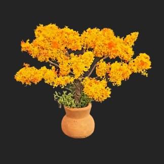JARRE arbre fleuri orange 7cm-  Aubagne -provence – santon de provence -santon – décors de provence – décors de crèche – crèches de Provence- accessoire de Provence -artisan – made in france – france