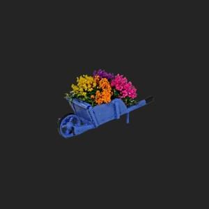 brouette aux fleurs de provence pour votre décor de crèche