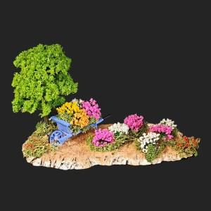 brouette dans les fleurs pour votre décor de crèche de provence