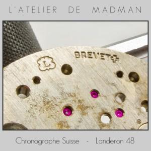 Le logo Landeron et l'inscription « Brevet + ».
