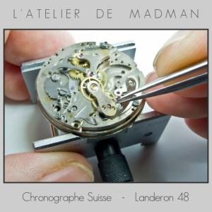 Le lendemain, poursuite des travaux… Démontage de l'embrayage du chronographe.
