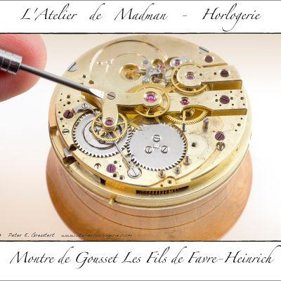 Le pont du chronographe : roue des secondes et roue du totalisateur des minutes.