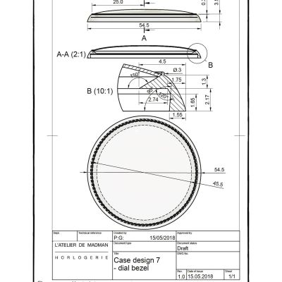 Plan de la lunette de cadran