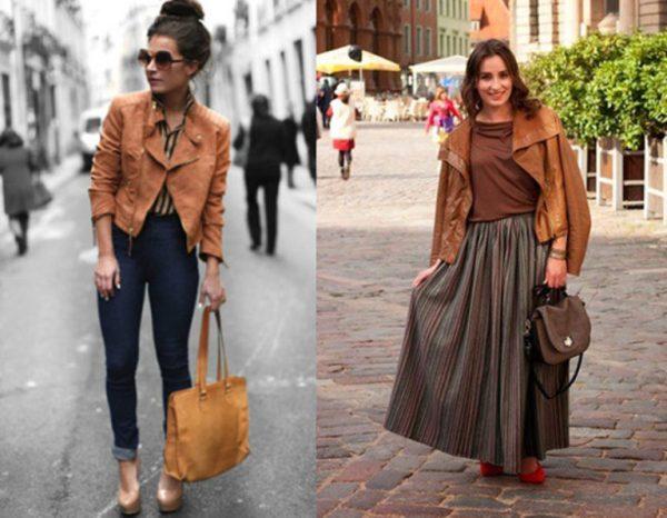 С чем носить коричневую кожаную куртку: варианты модных ...