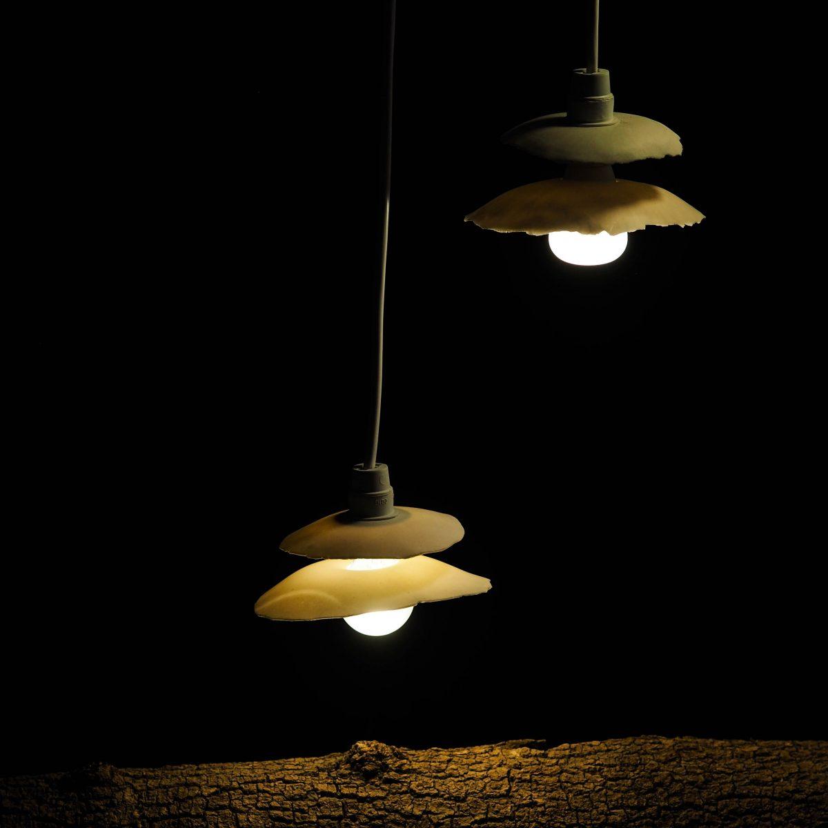Suspensions lumineuses, abat-jour en porcelaine à double corolle - lumière douce