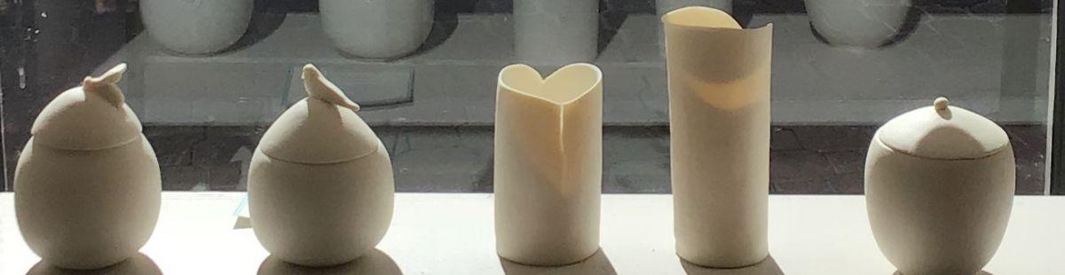 Boîtes vases porcelaine création Agde