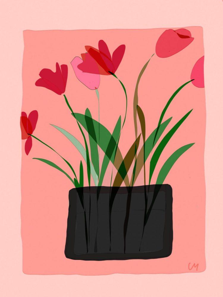 carte postale de créateur vase aux tulipes/atelier Mallaval Agde