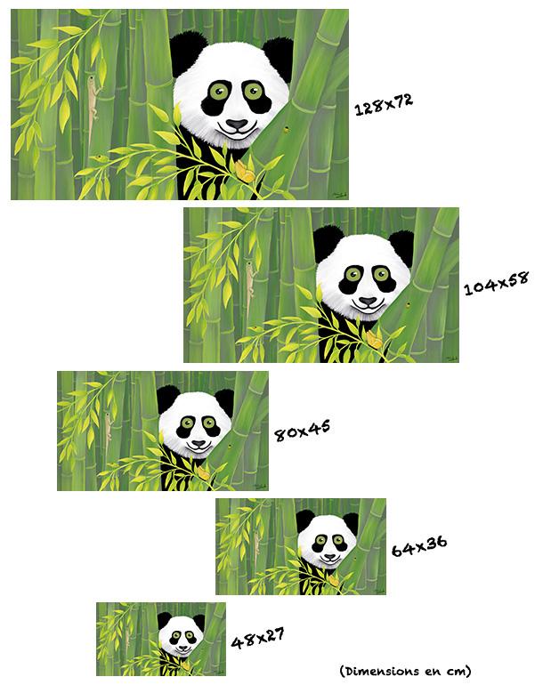 tableau-affiche-papier-aluminium-tailles-décoration-panda-bambous