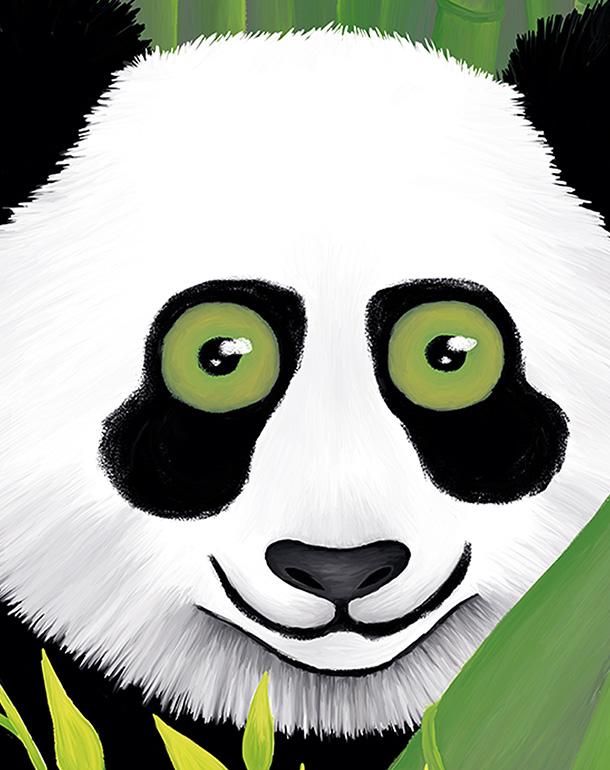 zoom-panda-bambou-décoration-enfant-tableau-affiche