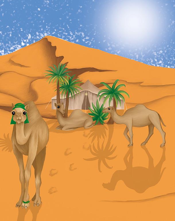 zoom-tableau-affiche-décoration-enfant-dromadaires-désert