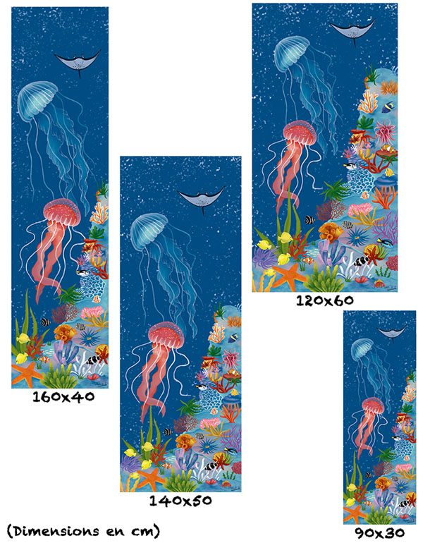tableau-affiche-papier-aluminium-tailles-décoration-méduses-récif-océan