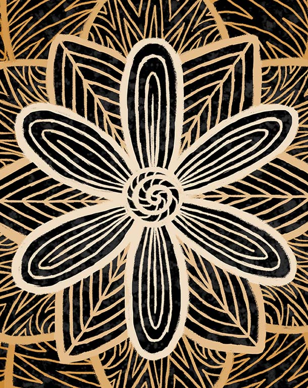 zoom-affiche-tableau-fleur-mandala-décoration-symbole