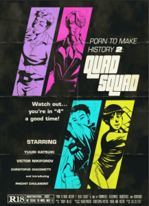 Cover of Quad Squad, featuring art of Chris, Victor, Yuuri, and Phichit, with each drawn by one of the 4 artists