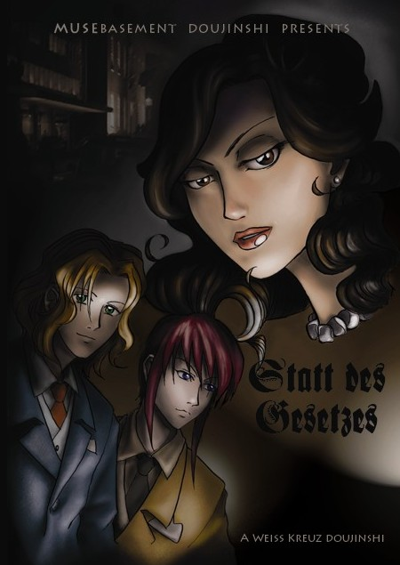 Cover of Weiss Kreuz fan comic, Statt des Gesetzes, featuring Youji, Aya, and a young Momoe in a film noir style