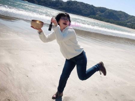 弓ヶ浜でシンギングボウルを鳴らしてみた