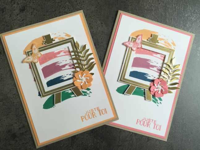 Cartes IN COLOR 2016 2018 Palette d'artiste par Marie Meyer Stampin up - http://ateliers-scrapbooking.fr/ - Painter's Palette Stamp - Alles Palette Stempel