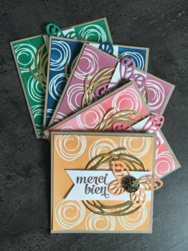 Cartes IN COLOR 2016 2018 par Marie Meyer Stampin up - http://ateliers-scrapbooking.fr/ - Swirly Bird Stamp - Swirly Scribbles Thinlits Dies - Thinlits Formen Wunderbar verwickelt