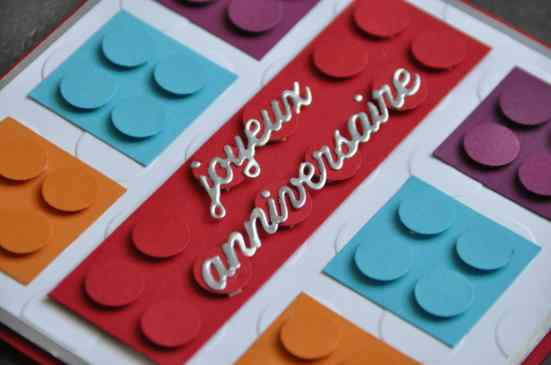 Carte LEGO anniversaire par Marie Meyer Stampin up - http://ateliers-scrapbooking.fr/