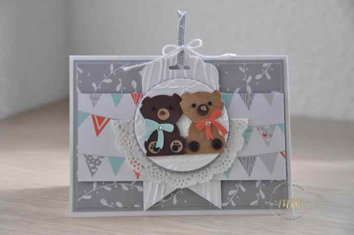 Cartes félicitations de naissance foxy friend punch art perforatrice renard par Marie Meyer Stampin up - http://ateliers-scrapbooking.fr/ - Fox Builder punch - Fuchs Elementstanze