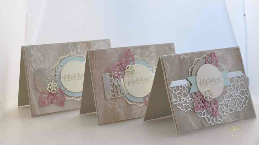 Cartes de félicitation de mariage Thinlits En détails par Marie Meyer Stampin up - http://ateliers-scrapbooking.fr/ - Thinlits So Detaled - Thinlits Liebe zum Detail