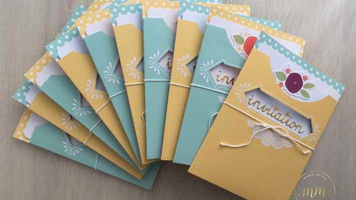 Cartes d'invitations anniversaire Kit pour Cartes Jolie pochette par Marie Meyer Stampin up - http://ateliers-scrapbooking.fr/ - Pretty Pocket Card Kit - Kartenset kreativ kuvertiert