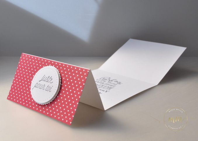 Cartes à chevalet 3D swaps Onstage Amsterdam avec le bloc de papier de la série Design Avec amour et le set de tampons Amoir fou par Marie Meyer Stampin up - http://ateliers-scrapbooking.fr/ - Sending Love Designer Series Paper Stack - Designerpapier im Block Liebe Grüße