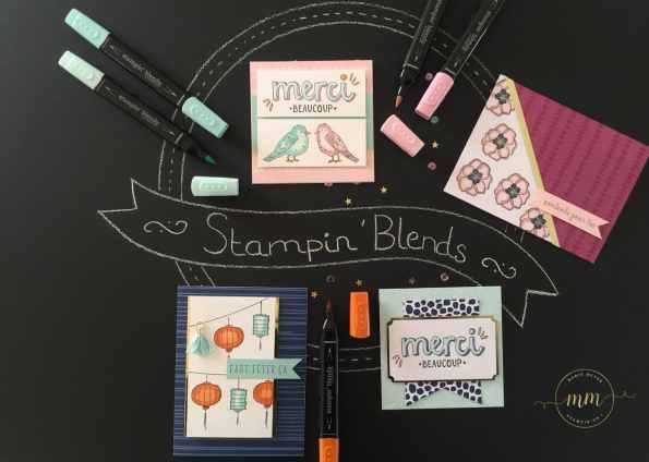 Cartes kit de projet couleur bonheur et set de tampons couleur Bonheur, Stampin'Blends marqueurs par Marie Meyer Stampin up - http://ateliers-scrapbooking.fr/ - Color Me Happy Project Kit, Color Me Happy Stamp Set - Farbenfroh Bundle, Farbenfroh Stamp Set