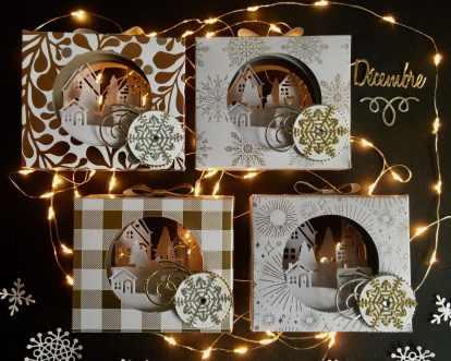 Photophore de Noël, papier Design Les Joies de l'Hiver, Thinlits Flocons virevoltants, Thinlits Superpositions de saison, Framelits Formes à coudres, Framelits Pyramide de cercle, Edgelits Bonjour de ma ville, Perforatrice Nœud, set de tampons Souhaits en rafales par Marie Meyer Stampin up - http://ateliers-scrapbooking.fr/ - Tealight Year of Cheer Specialty Designer Series Paper, Swirly Snowflakes Thinlits, Seasonal Layers Thinlits, Stitched Shapes Framelits, Layering Circle Framelits - Teelichter, Besonderes Designerpapier Winterfreuden, Formen Flockenreigen, Aus jeder Jahreszeit, Stickmuster, Lagenweise Kreise