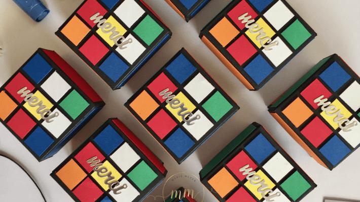 Boîtes anniversaire Rubik's cube Napkin Fold et son tutoriel