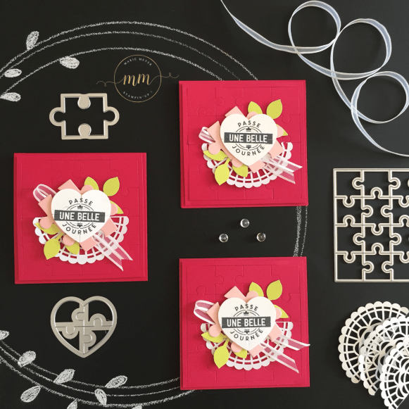 Cartes de remerciements Love you to pieces Thinlits Pièces de puzzle, Coffret à perforatrice étiquette mignonne, perforatrice Feuillage par Marie Meyer Stampin'up - http://ateliers-scrapbooking.fr - Thank you cards, Leaf Punch - Darling Label Punch Box - Danke Karten, Stanz-box Exquiste Etiketten, Blätterzweig Stanze