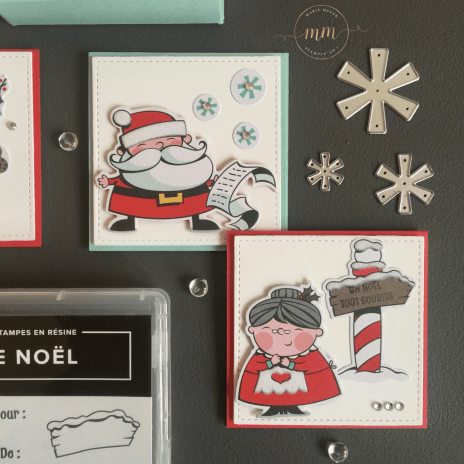 Tutoriel mini cartes L'Atelier du Père Noel avec sa boîte, Framelits Formes à coudres, Framelits Panneau du Père Noël, Papier Design Spécialité L'atelier du Père Noël, Perforatrice Trio détaillé, Set de tampons Panneaux du Père Noël par Marie Meyer Stampin'up - http://ateliers-scrapbooking.fr - Mini Card Tutorial The Santa Claus Workshop with its box, Stitched Shapes Framelits Dies, Santa's Signpost Framelits Dies, Santa's Workshop Specialty Designer Series Paper, Detailed Trio Punch, Signs Of Santa Stamp Set - Mini Karten die Weihnachtsmann-Werkstatt mit seiner Box, Framelits Stickmuster, Framelits Weg zum Weihnachtsmann, Besonderes Designerpapier In der Weihnachtswerkstatt, Dekorative details, Trio Stanze, Weihnachtswerkstatt Stempel