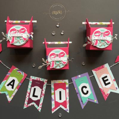 Boîtes tourillon anniversaire Alice 13 ans Papier Design Quel Délice et son tutoriel - Anniversaires, Boîtes, Boîtes cadeaux, Framelits Bocaux en tous genres, Framelits Pyramide de cercles, Papier Design Quel délice, Perforatrice cercle, Set de tampons Cousu avec soin, Set de tampons Petit Pot d'Amour, Stampin up, Thinlits Etiquettes botaniques par Marie Meyer Stampin'up - http://ateliers-scrapbooking.fr