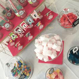 Candy bar anniversaire Alice - Anniversaires, Bannières anniversaire, Bar à bonbons, Boîtes, Boîtes à gourmandises, Boîtes cadeaux, Cadeaux anniversaire, Candy bar, Décoration, Framelits Bocaux en tous genres, Framelits Bouteilles et bulles, Framelits Pyramide de cercles, Home déco, Papier Design Quel délice, Perforatrice cercle, Perforatrice Etiquette en fanion, Set de tampons Cousu avec soin, Set de tampons Petit Pot d'Amour, Sizzlits Pinwhell, Stampin up, Thinlits Etiquettes botaniques, Thinlits Petites lettres par Marie Meyer Stampin'up - http://ateliers-scrapbooking.fr