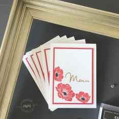 Cartes de menu Noce d'or Essence Florale 2019 2