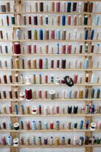 various types of thread for sewing inside store for needlework