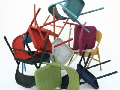Hand-Felted Metal Folding Chairs by Tanya Aguiniga