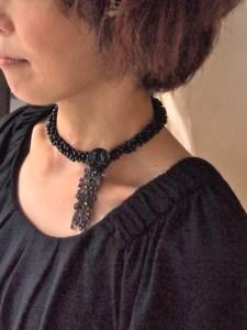 ネックレス チョーカー ブラック 黒 ファッション コーディネート Chiekaoriginalaccessory アトリエ・nest