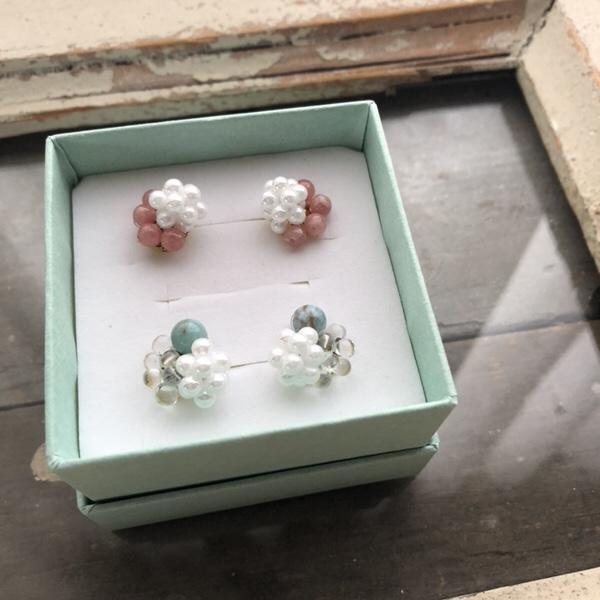 Chieka original accessory,アトリエ・nest ,天然石ピアス,イヤリング,熊本,オリジナルアクセサリー,
