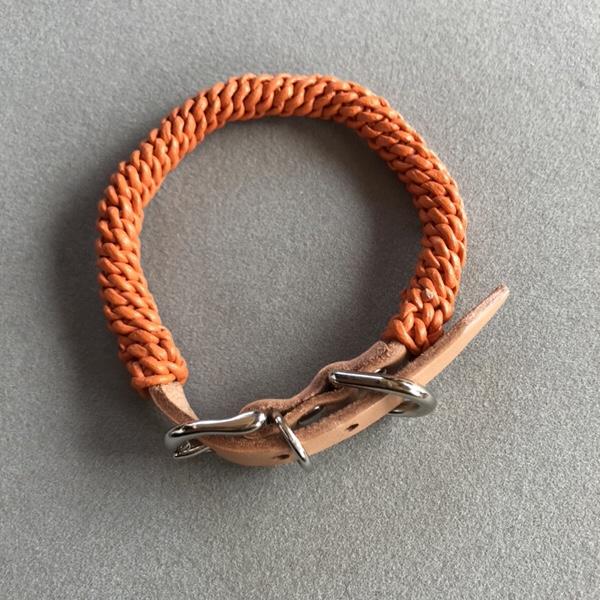 犬の首輪、Allons-y!、熊本、レザー首輪、オレンジ色