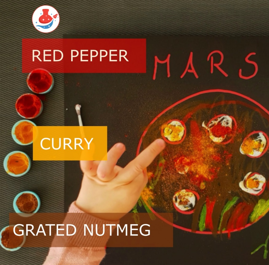 Drawing Mars, drawing with spices