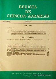 Revista de Ciências Agrárias - Volume XVI -Nº 4 – Out. – Dez.- 1993 - Publicação da Sociedade de Ciências Agrárias de Portugal - Lisboa - 1993. Desc. 106 pág. / 24 cm x 17 cm / Br. - «€10.00»