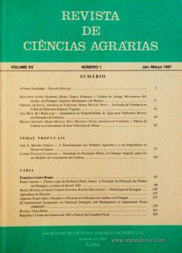 Revista de Ciências Agrárias - Volume XX - Nº 1 – Jan. – Mar.- 1997 - Publicação da Sociedade de Ciências Agrárias de Portugal - Lisboa - 1997. Desc. 171 pág. / 24 cm x 17 cm / Br. - «€15.00»