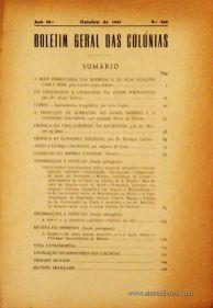 Boletim Geral das Colónias – Ano 23.ª – Outubro de 1947 – N.º268 – Agencia Geral das Colónias – Lisboa – 1947. Desc. 127 pág. / 22,5 cm x 16 cm / Br «€12,50»