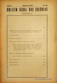 Boletim Geral das Colónias – Ano 18.ª – Outubro de 1942 – N.º208 – Agencia Geral das Colónias – Lisboa – 1942. Desc. 125 pág. / 22,5 cm x 16 cm / Br «€12,50»