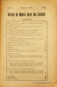 Boletim Geral das Colónias – Ano 6.ª – Fevereiro de 1930 – N.º56 – Agencia Geral das Colónias – Lisboa – 1930. Desc. 256 pág. / 22,5 cm x 16 cm / Br «€15,00»
